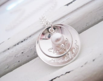 Persoanlized Jewelry . Hand Stamped Necklace . Brag About It Jewelry . Double Cup of Love . Pearl