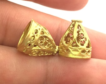 2 Raw Brass Cones  Findings 14x12mm G3692