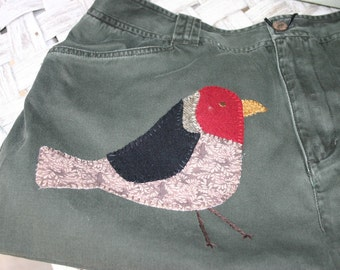 Bag or Purse Bird Applique Upcycled