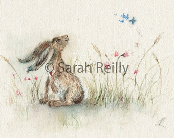 Butterfly Breeze - Charming ART PRINT hare pictures print wildlife painting wall art