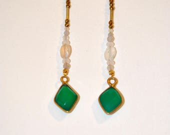 Vintage green onyx and white moonstone earrings