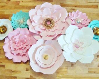 Set of 8 Paper Flowers - Paper Flower Backdrop | Paper Flowers | Baby Nursery | Paper Flower Wall | Baby Nursery Decor | Wedding Backdrop