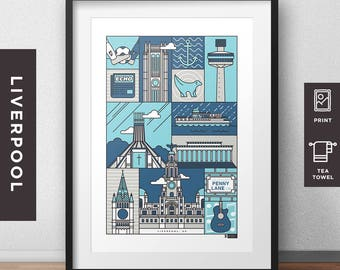 Liverpool - City Print/Tea Towel  // Architecture // Statement Poster // Gifts for new home // Handmade Illustration // Merseyside design