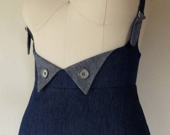 Made To Order- Blue denim suspender skirt