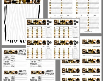 Safari Bunco Printable Set, Bunco Score Cards & Tally Sheet, Instant Download, Editable Bunco Invites