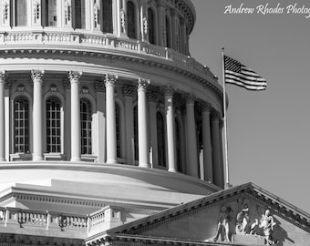 US Capitol Rotunda - Fine Art Photo Print - Black and White, B&W, United States, Washington DC, Skyline