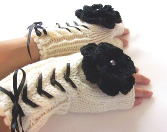 Hand Knit IVORY and BLACK...Wool Fingerless Gloves,Mittens, Arm Warmers with  cable pattern,flowers and satin ribbon