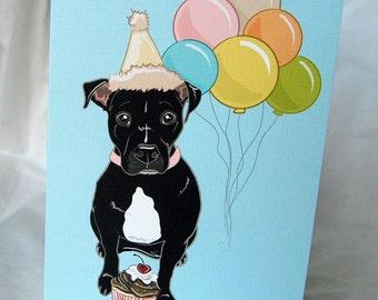Black Pit Bull 'n Balloons Greeting Card