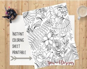 Floral Springtime Coloring Sheet - Instant Download - Printable Poster