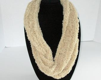 Tan or Ecru Infinity Scarf / Long Knit Circle Scarf