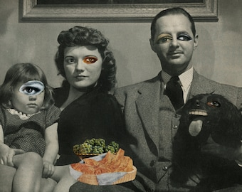 Present in this surreal moment Unique handmade collage