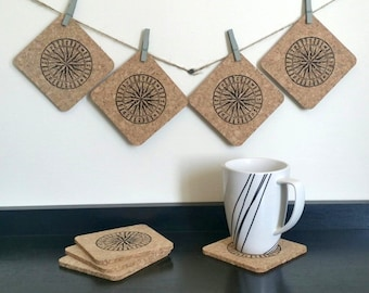 Compass Coasters - Cork Compass Coasters - Nautical Coasters - Gifts for Him - Gifts for Her - Valentine's Day Gift - Sets of 4 or 8