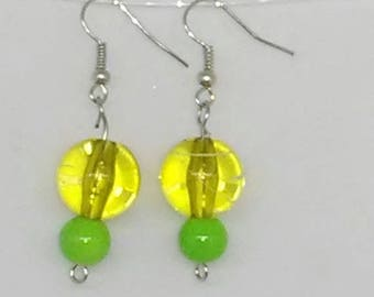 Green Striped Round with Solid Green Round Beaded Earrings