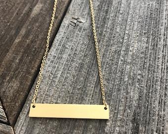 Bar necklace -- Gold bar necklace  -- Simple bar necklace -- Minimalist Necklace