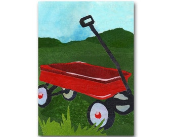 Little Red Wagon - Card or Print  for a Child's Room -  Childhood Memories - Collectable Vintage Toys -1950's Radio Flyer (CMEM2013090)