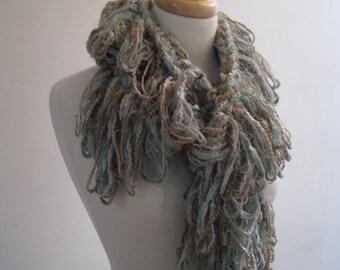 "light green boa, tan boa, warm boa mixed fibers scarf  warm  scarf ""sea glass"""