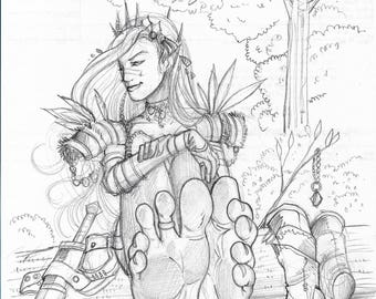 Original sketch drawing on random paper Barefoot Elf Girl by Michigan artist Dennis A!