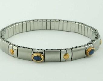 14kt Gold Stainless Steel Blue Enamel Bangle Bracelet