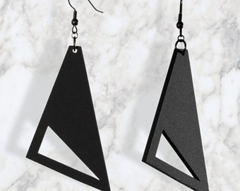 Triangle Earrings, Geometric Earrings, Minimalist Earrings, Black Drop Earrings, Fashion Earrings, Handmade Earrings, Dangle Earrings