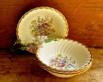 Vintage Floral Bowls, Royal China, Pink and Blue Dinnerware, Country Wildflowers Pattern, Set of Four, Cottage Kitchen Farmhouse Decor
