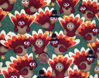 TURKEYS, Turkey, Thanksgiving Fabric~100% Cotton for Crafts & Quilting~Fat Quarter/ FQ or Half Yard