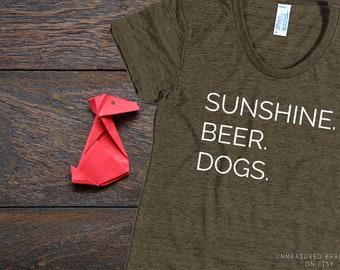 Sunshine Beer Dogs Women's T-shirt   Dog Shirt   Dog Tshirt   Beer Shirt   Sunshine Shirt   Gifts for Her   Dog Gifts   Beer Gifts   Fur Mom