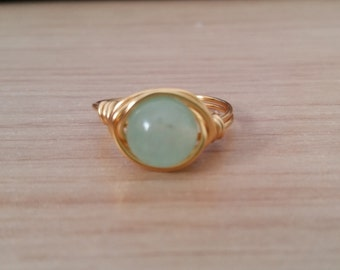 Mint Jade Gold Wire Ring - Natural Stone - Handmade - Wire Wrapped Ring - Silver - Green - Boho - Bohemian - Stack able Ring - Dainty