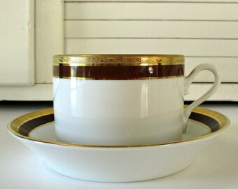 Richard Ginori Coffee Cup and Saucer / Palermo Brown / Italian / Mid Century / China / Dinnerware / Pottery