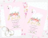 Swan & flowers Pink  / Cu...