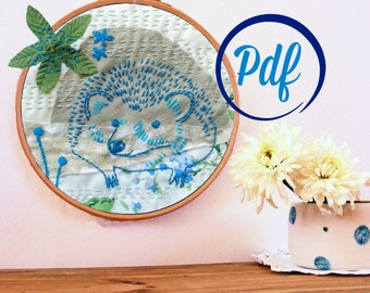 Hedgehog and bluebells embroidery pattern -pdf  - whimsical woodland design