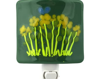 Green Night Light, Yellow Flowers, Art Glass Shade, Wall Plug In