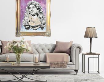 LARGE GICLÉE print, Modern Art Print, Fine Art Print, Portrait, Historical Portrait, Colonial Portrait, Drip Painting, Purple Portrait