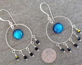Blue Dichroic Boho Hoop Earrings