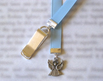 Angel bookmark / Heaven - Attach clip to book cover then mark the page with the ribbon. Never lose your bookmark!