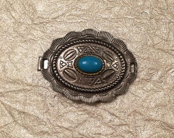 Vintage Silver and Turquoise Hair Clip