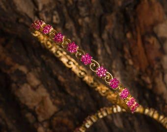 Revathi Ruby Bangles | Indian jewelry | Temple kundan gold jewelry | Bangles