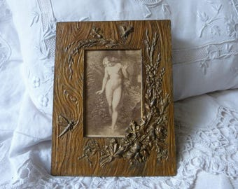 Antique French art nouveau picture frame w flowers, leaves, dragonflies, 1900s Artnouveau pictureframe w print of Eve, French home decor