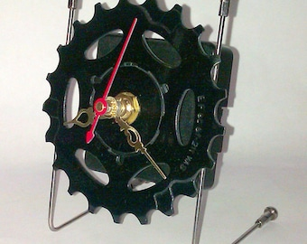Recycled Bicycle Sprocket & Spoke Desk Clock - Black