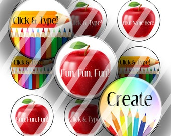"Editable Bottle Cap Collage Sheet - School Teacher (151) - 1"" Digital Bottle Cap Images"
