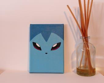 "Vaporeon acrylic painting on canvas, 5x7"" Pokemon inspired"