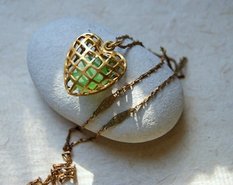 Cage Heart Locket Necklace filled with sea green beach glass - vintage brass locket and vintage chain