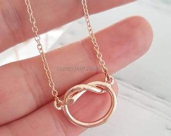 Heart Knot Necklace - Heart Necklace - Eternity - Infinity Symbol - Symbol Jewelry - Engagement - Knot - Gift for her - Love Gift - Mother