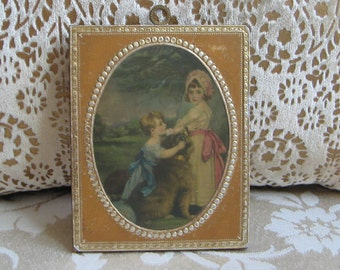 Vintage Children Portrait Small Art Print on Wood, Boy & Girl Wall Plaque With Embossed Tin Or Foil