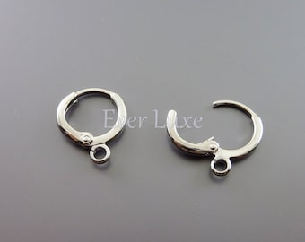 6 shiny silver small lever back ear wires, earrings, brass hook earrings, earrings, earwires B076-BR