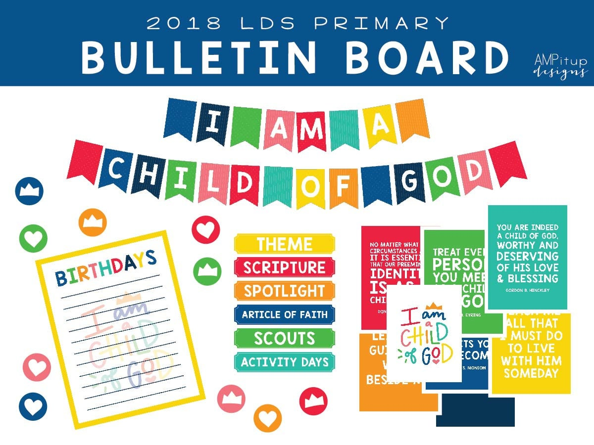 2018 lds primary i am a child of god bulletin board for Idea door primary printables