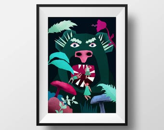"Illustration print - ""Forest creature"""