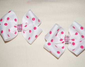 "2 Handmade 3.5"" White With Pink Polka Dots Hair Bow"