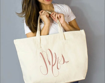 "Copper Mrs. Large Zip Tote: 100% Natural Cotton Canvas 22""W x 15""L x 5""D Interior Zippered Pocket - By Alicia Cox/ Ellafly"