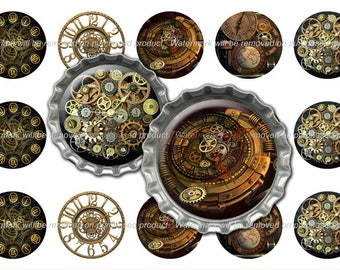 SteamPunk Bottle Cap Images - SteamPunk - Instant Download - High Resolution Images - Buy 3, Get 1 FREE