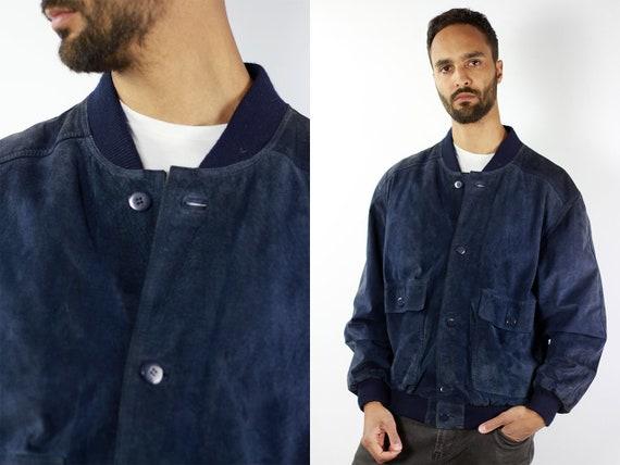 Blue Suede Bomber Jacket Suede Jacket 80s Suede Jacket Medium Suede Jacket Blue Suede Jacket Suede Bomber Bomber Jacket Blue Leather Jacket